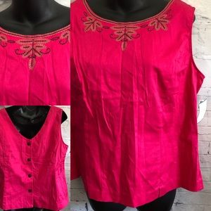Sag Harbor Top Embroidered Pink Sz 16 NWT